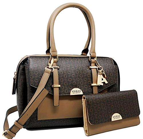 GUESS Nichel Logo Satchel Tote Bag Handbag & Wallet Set - Natural/Red