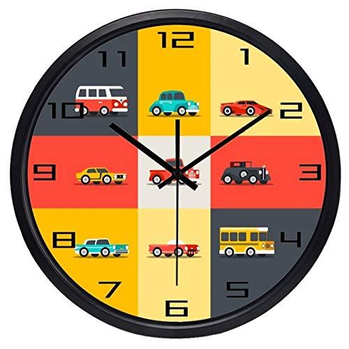 Cwanmh Car Cartoon Bus Big Turin Boy's Bedroom Wall Clock No Tick 30x30cm