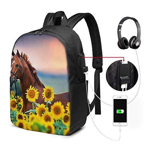 Laptop Rucksack Business Rucksack für 17 Zoll Laptop, Rotkastanien Hengst Schulrucksack Mit USB Port für Arbeit Wandern Reisen Camping,für Herren Damen