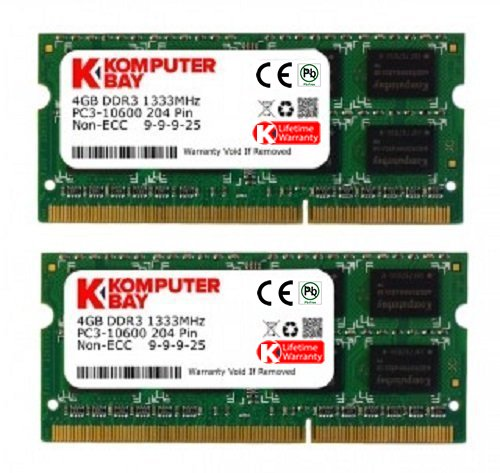 Komputerbay 8GB (2x 4GB) DDR3 SODIMM (204 pin) 1333Mhz PC3-10600 (9-9-9-25) laptop portatili di memoria per Apple iMac