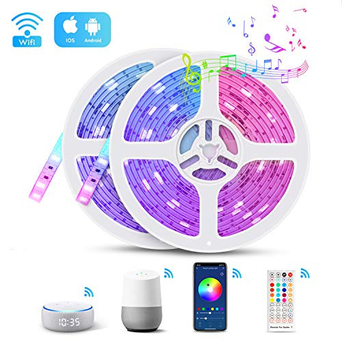 Smart WIFI Led Strip Lights, TASMOR 32.8ft RGB 5050 Color Changing Light Strip Music Sync Works with Alexa Google Assistant, Phone APP Controlled IP65 Waterproof Led Strip with Remote for Home Parties
