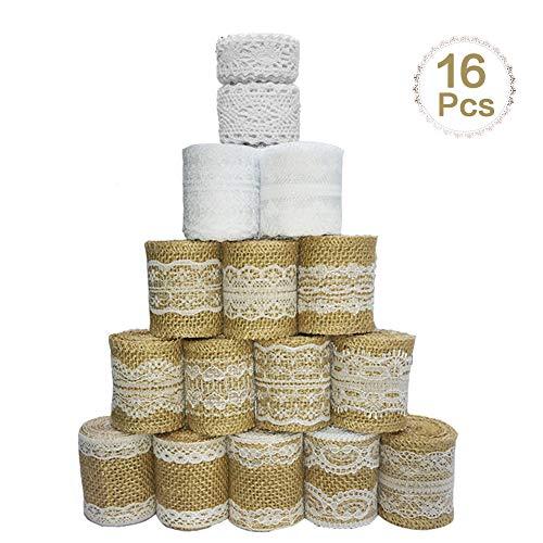 Sparta's Store 16 Juteband Spitzenband.enthalten,12 ×Hessische Sackleinen weiße Spitze Band Rolle, 2× Spitzenbordüre und 2 ×Vintage Spitzenborte Band. Natürlich und umweltfreundlich!