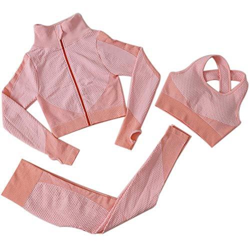 Frauen-Yoga-Klagen Yoga-Klage Langer Hülsen-Mantel Weste Gamaschen 3pcs Sport-Anzüge Fitness Yoga Laufen Sport Tracksuits Gym Outfit (Rosa, S)