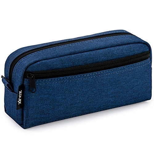 Gran capacidad para lápices, estuche de lápices multicolores, bolsa de cosméticos, bolsa de lápices con cremallera para niños y niñas (azul marino)