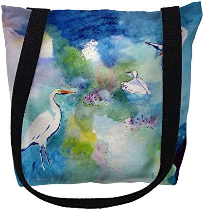 Betsy Drake New item TY1047M 16 x Atlanta Mall in. Three Medium Egrets Tote - B Bag