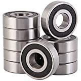 XiKe 10 Pcs 6203-5/8-2RS Double Rubber Seal Bearings 5/8'x40x12mm, Pre-Lubricated and Stable Performance and Cost Effective, Deep Groove Ball Bearings.