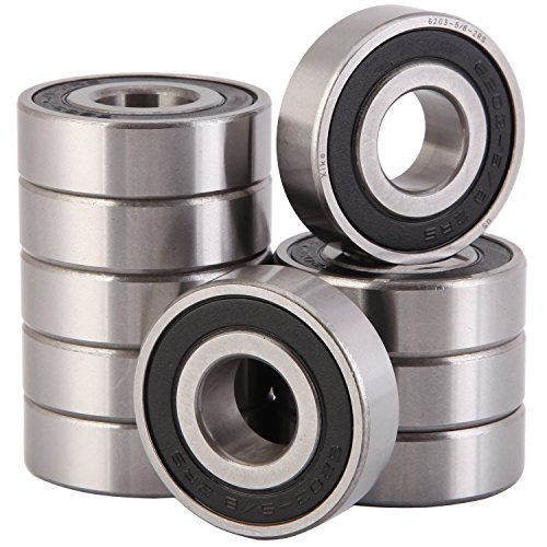 "XiKe 10 Pcs 6203-5/8-2RS Double Rubber Seal Bearings 5/8""x40x12mm, Pre-Lubricated and Stable Performance and Cost Effective, Deep Groove Ball Bearings."
