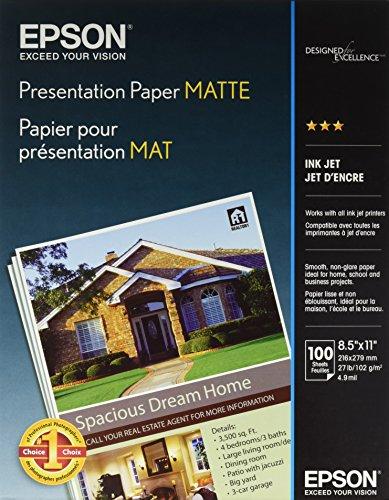 Epson Presentation Paper Matte, 8.5 x 11 Inch, 100 Count (S041062), White