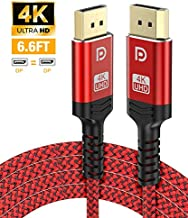 DisplayPort Cable,Capshi 4K DP Cable Nylon Braided -(4K@60Hz, 2K@144Hz) Gold-Plated DP to DP Cable(NOT HDMI) Ultra High Speed Display Port Cable 6.6ft for Laptop PC TV etc- Gaming Monitor Cable (Red)