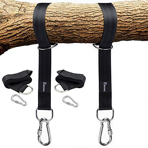 Tree Swing Straps Hanging Kit Holds 1200lbs, Easy & Fast To Installation Swing Hanger, 2 Tree Straps(5 FT )and 2 Safety Lock Carabiner Hooks, Perfect For Swings and Hammocks-100% Waterproof (Black)