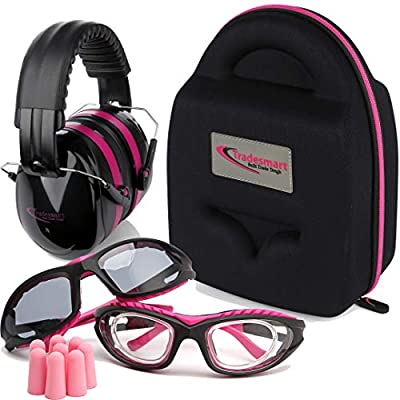 TRADESMART Shooting Range Earmuffs and Glasses – Ear and Eye Protection for The Gun Range with Protective Case, – UV400 Anti-Fog and Anti-Scratch Clear and Tinted Safety Glasses – NRR 28 (Pink)