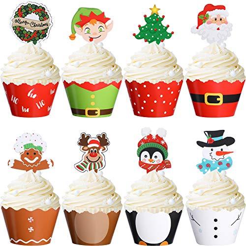 Blulu 96 Stücke Weihnachten Party Dekoration Weihnachten Cupcake Topper Verpackung Weihnachtsmann Schneemann Rentier Elf Pinguin Weihnachtsbaum Weihnachtskranz Lebkuchen Hand Kuchen Party Dekoration