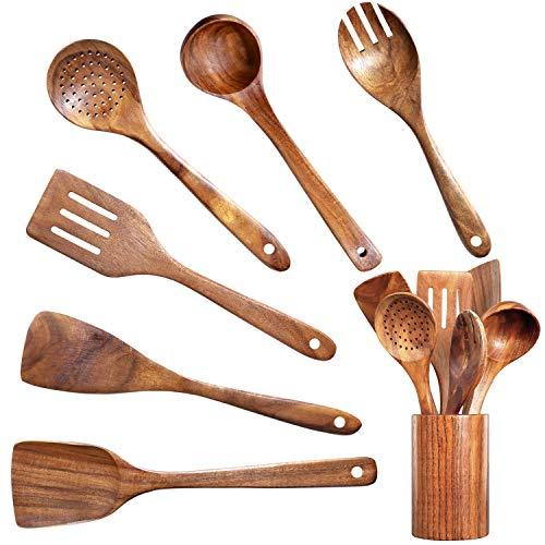 Wooden Kitchen Utensil Set Uncoated Wooden Spoons for Cooking Nonstick wooden cooking utensils with Holder Organic Teak Kitchen Utensils Set Bamboo Cooking Utensils Set with Hole 7 PCS