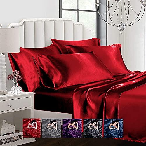 Ahmedani Linen Sexy Satin Sheet 6 Pcs King Bedding Set 1 Duvet Cover +...