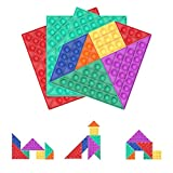 Silicone Tangram Puzzles Push Pop Pop it Puzzle Toys, Ultimate Value Pack Popper Fidget Toys, Assorted Colors, Sensory Poppers to Develop Imagination and Creativity