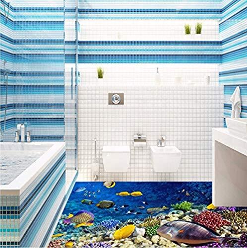 Fototapete Unterwasserwelt Aquarium Bodenbelag Paste Badezimmer Lobby Gangboden Hintergrundbild Mural-450Cmx300Cm