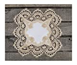Square Placemat or Doily in Gold European Lace and Antique Jacquard Fabric, Size 14 Inches Square