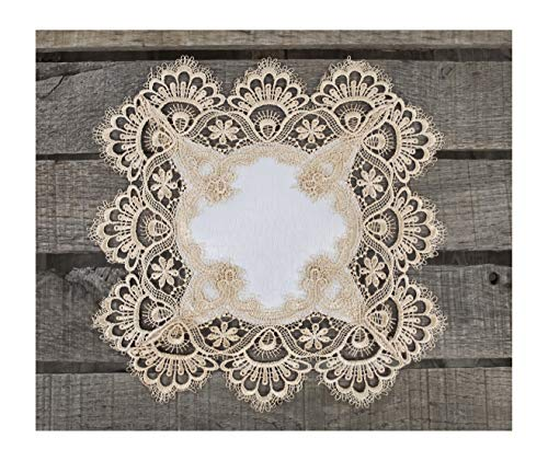 Square Placemat or Doily in Gold European Lace and Antique Jacquard...