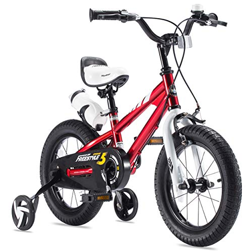 RoyalBaby Boys Girls Kids Bike 14 Inch BMX Freestyle 2 Hand Brakes Bicycles with Training Wheels Child Bicycle Red