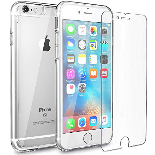 FlexGear Clear iPhone 6s case [Aura X] Hard PC Back TPU Bumper and Tempered Glass Screen Protector, Compatible with iPhone 6 6s (Clear)