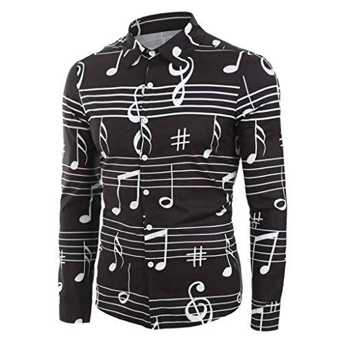 Amlaiworld Camisa Casual para Hombres,Hombres Casual Novedad Nota Musical Patrón Casual Manga Larga Camisa Blusa Tops
