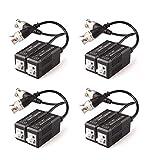 Faittoo 4 Pares 8 Piezas pasivo transceptor de vídeo Balun transmisor y con Cable para 1080p TVI/CVI/TVI/AHD/960H DVR cámara CCTV Sistema, Macho BNC a UTP Cat5/5e/6 cable/6E, no Requiere alimentación