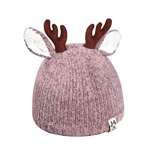Your New Look Baby wool hat baby antlers Christmas hat children's knitted hats warm hats off and winter hooded hats children's warm hats - Pink - 48