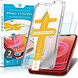 Power Theory Panzerglas für iPhone 12/iPhone 12 Pro [2 Stück] - Schutzfolie mit Schablone, Panzerglasfolie, Panzerfolie, Glas Folie, Bildschirmschutzfolie, Schutzglas