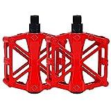 YGHH 1 Par Aleación de Aluminio Pedal, Pedales, Pedales Bicicleta, Ultraligero Pedal Bicicleta Montaña, Aleación de Aluminio Antideslizante Ahuecar Pedal Cojinete Sellado para Montaña BMX (Rojo)