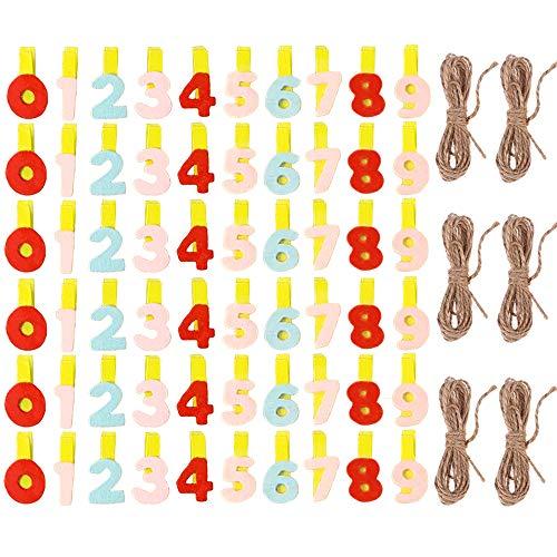 yyuezhi Madera Pinzas de Madera Decorativas para Colgar Fotos Regalos Decoración Mini Pinzas Clip Decorativas de Madera de Diseño Digital Navidad Colgando Foto Clip de Madera con Cuerda de Cáñamo