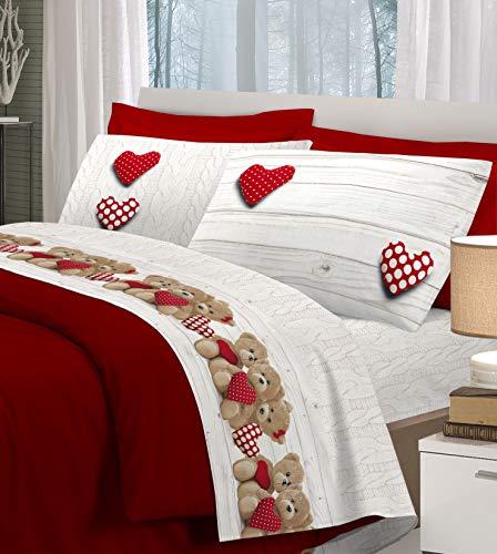 HomeLife Juego de sábanas de algodón con Ositos y Corazones Set de sábana encimera de 250x300 y 2 Fundas de 52x82 para Cama de Matrimonio – Beige y Rojo