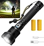Rechargeable Led Flashlight, 90000 Lumens Super Bright Flashlights High Lumens Powerful Tactical Flashlight with Batteries Included,Waterproof Flashlight for Emergencies (Black)