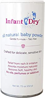 Infant Dry All Natural Baby Powder (7.5oz)   Gentle Formula Talc Free   All Natural and Unscented