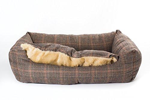 SAUERLAND Hundebett Tweed-Optik 100x70 cm mit Wendekissen, Hundekissen, Hundematte, Liegekissen, Schlafplatz