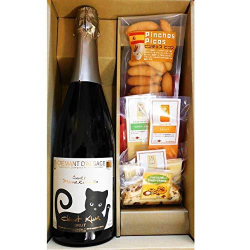 プレゼント 黒猫 マネキネコ スパークリングワイン & チーズ・ピコス 5種セット