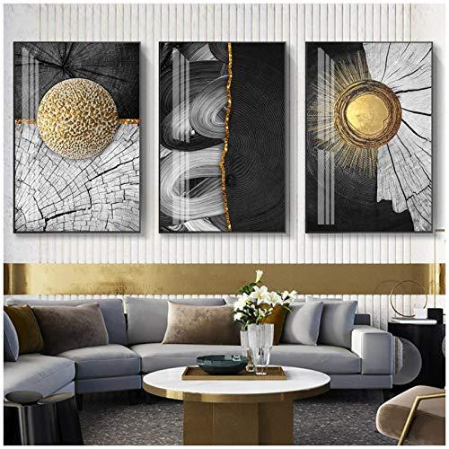 JINHJ Pintura en Lienzo Imagen de impresión en HD Resumen Anillos anuales en Oro y Negro Póster Arte de la Pared Decoración Moderna para el hogar (60x80cm) × 3pcs Sin Marco