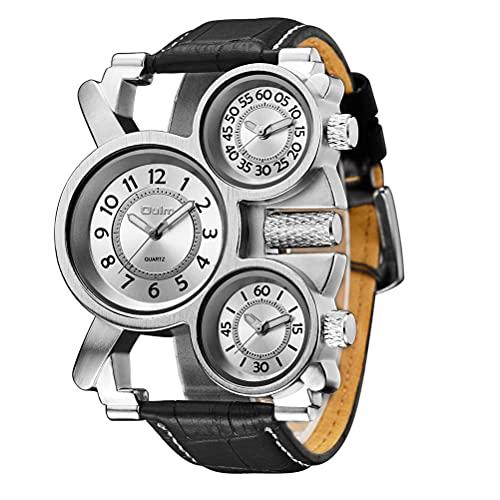 Guillala 1 Pieza Reloj de Pulsera con múltiples Zonas horarias Reloj de Pulsera con subesferas de Cuarzo Militar Correa de Reloj de Cuero sintético Duradero para Hombre Padre Novios