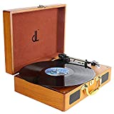 Platine Vinyle, enregistreur PC DLITIME Portable Retro Vintage Record Player, entrée/Sortie AUX in Trois Vitesses 33/45/78 avec Haut-Parleur intégré Tourne-Disque