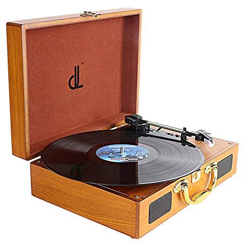 Platenspeler voor pc-opname, DLITIME Vinyl-platenspeler met 3 Snelheden en 2 * 1W Speaker Platenspeler