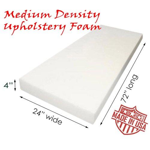 "AK TRADING Upholstery Foam Density Cushion, (Seat Replacement, Foam Sheet, Foam Padding), 4"" W x 24"" H x 72"" L, Medium"