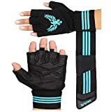 Xtrim X Macho Unisex Professional Wrist Wrap Support Real Leather Tactical Thumb Stretch Back Weightlifting Gym Gloves for Palm and Wrist Protection (Medium)