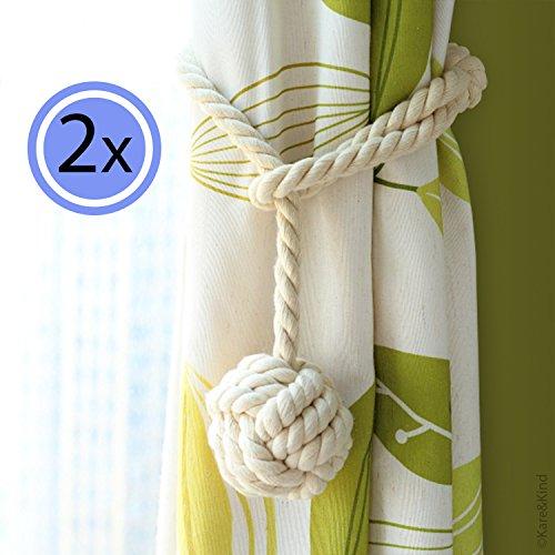 Gordijnen touw-trekband - eenvoudige verbinding via knooplus - houdt de gordijnen van uw ramen open - handgebreid - natuurlijke katoen - neutraal licht beige kleur - een paar (set van 2)