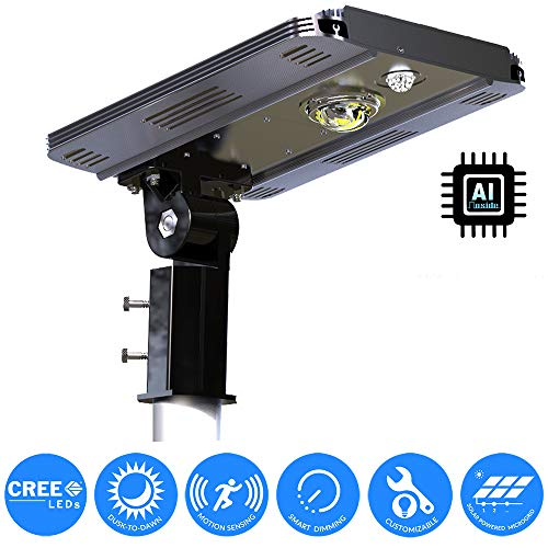 eLEDing World's 1st AI Solar Power Smart 1600LM CREE LED Street Light for Commercial Residential Parking Bike Paths Walkways Courtyard (10W)