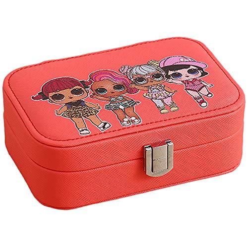 Red Jeweltery Box Organizer, Caja De Almacenamiento De Joyas De Cuero PU De Peque, Pendientes De Anillo Organizador De Caja De Joyería para Niñas Mujeres Red