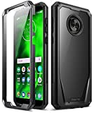 Moto G6 Case, Poetic Guardian [Scratch Resistant Back] [360 Degree Protection] Full-Body Rugged Clear Hybrid Bumper Case with Built-in-Screen Protector for Motorola Moto G6 Black