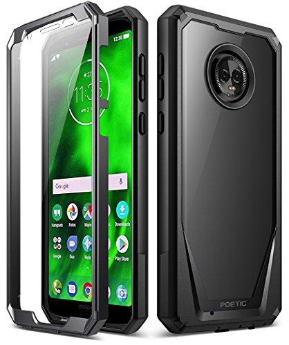 Poetic The Guardian [krasbestendig op de achterkant] Robuuste behuizing hybride helder met geïntegreerde displaybescherming voor Motorola Moto G6, zwart.