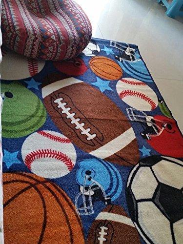 GRENSS 100% Nylon Blue Boys Wolldecke Kinder Teppiche für Schlafzimmer Bälle Drucken Cartoon Wolldecken und Teppich Kinderzimmer, 1000 mm x 1300 mm