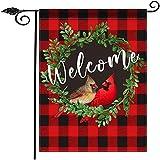 TOMUM Cardinal Garden Flag,Wreath Welcome Garden Flag Twin Bird 12.5 x 18 Inch Vertical Double Sided,Buffalo Check Plaid Summer Spring Yard Flag Holiday Outdoor Flags Decoration
