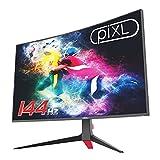 piXL Monitor de juegos sin marco de 24 pulgadas 144Hz/165Hz curvado HDR G-Sync compatible con 5ms sin marco con FreeSync, DisplayPort y HDMI