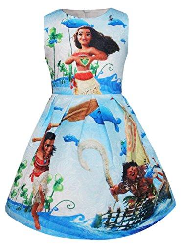 WNQY Moana Little Girls Printed Princess Dress Cartoon Party Dress (Blue,100/2-3T)